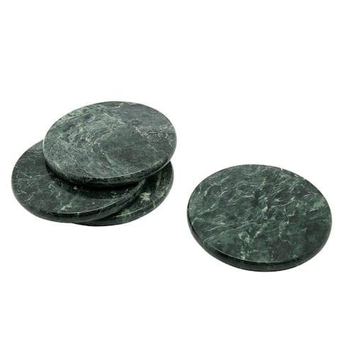 "Creative Home 4"" Genuine Green Marble Stone Set of 4 Round Coaster Set"