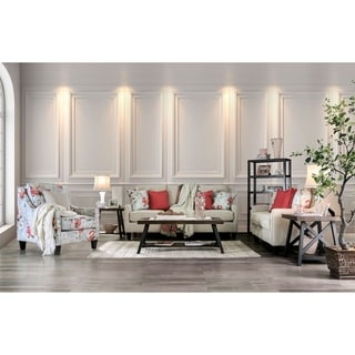 Furniture of America Lilu Transitional Ivory 3-piece Living Room Set