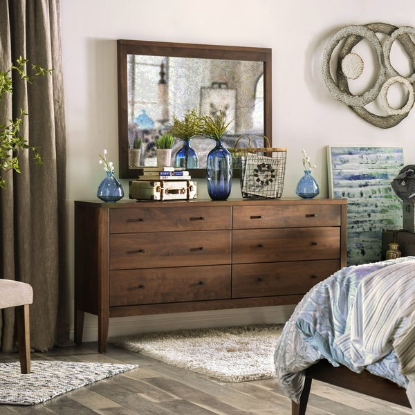 Furniture of America Larc Espresso 2-piece Dresser and Mirror Set