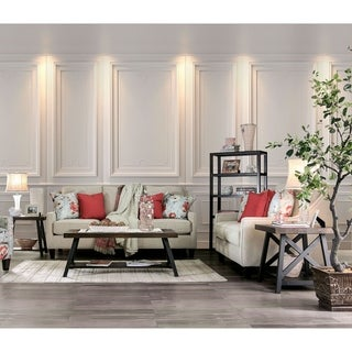 Furniture of America Lilu Transitional Ivory 2-piece Living Room Set