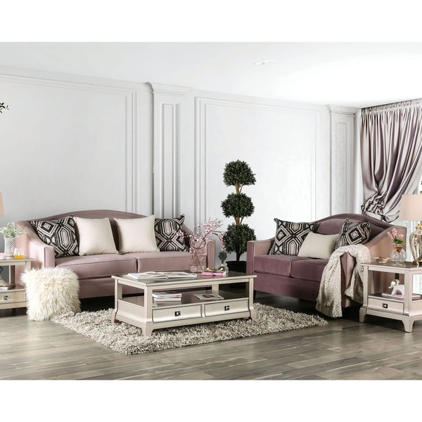 Furniture of America Dyce Transitional Pink 2-piece Living Room Set