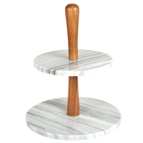 Creative Home Grey Marble and Acacia Wood 2-tier Cake Stand, Dessert Server