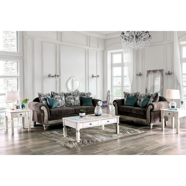 Furniture of America Tuva Grey/Antique White 2-piece Living Room Set. Opens flyout.