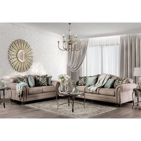 Furniture of America Audy Dark Taupe 2-piece Living Room Set