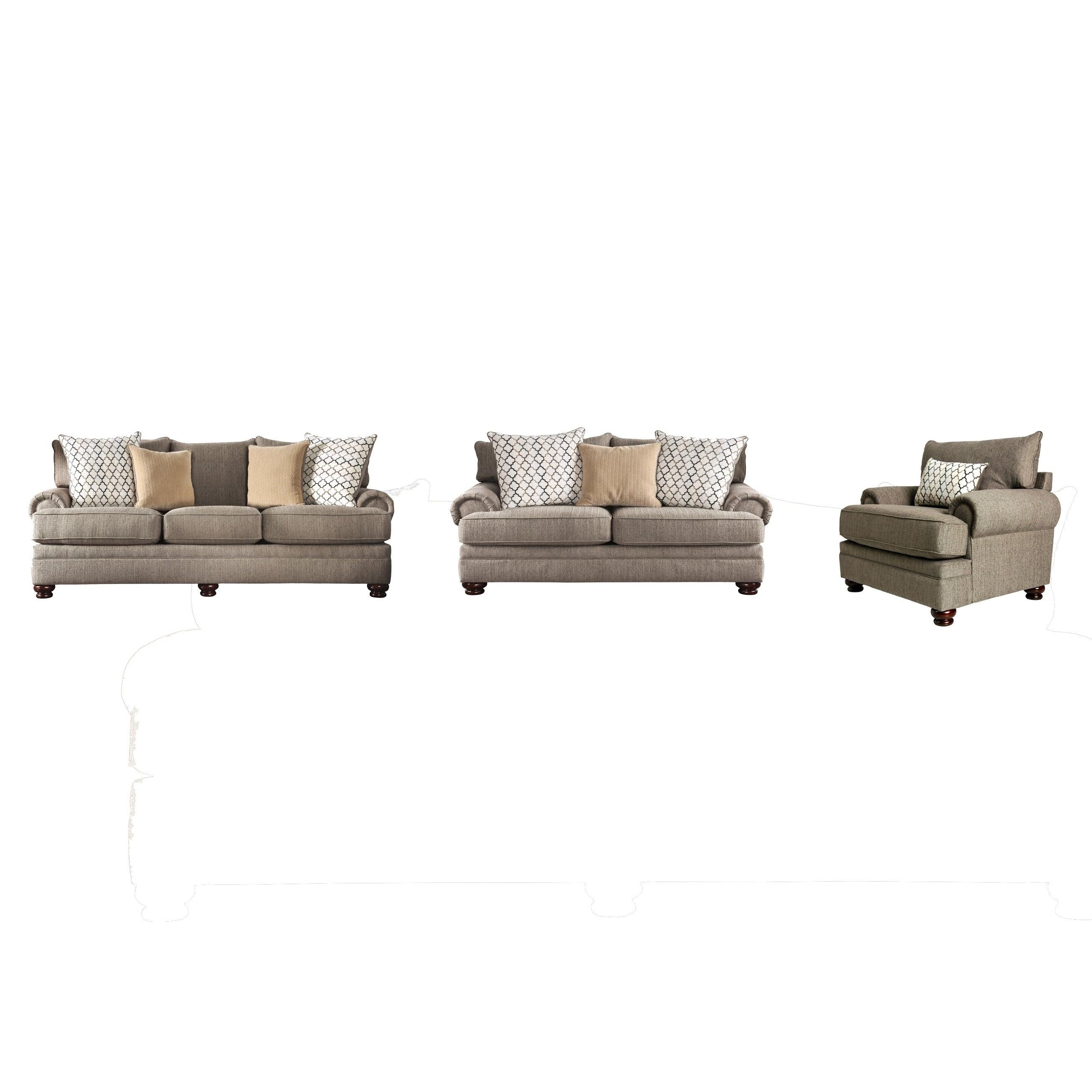 Shop Furniture Of America Liva Transitional Brown 3 Piece Living Room Set Overstock 30031751