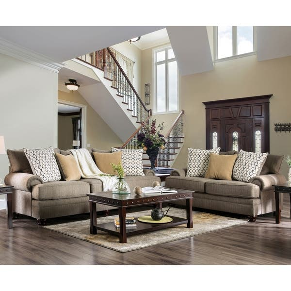 Shop Furniture Of America Liva Transitional Brown 2 Piece Living