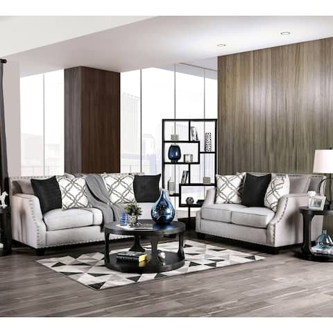 Furniture of America Abie Contemporary Fabric 2-piece Living Room Set