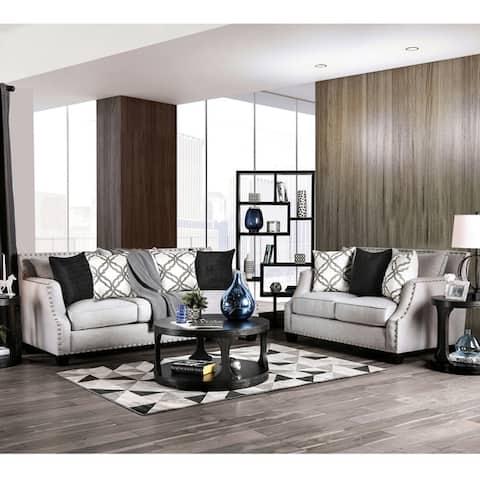 Furniture of America Abie Contemporary Fabric 2-piece Living Room Set