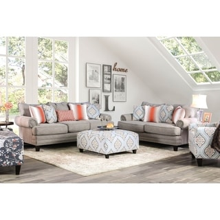 Furniture of America Stas Grey 3-piece Living Room Set with Ottoman