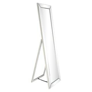 Moderno Beveled Mirror Rectangle Cheval, Bathroom,Bedroom,Living Room,Ready to Hang - Clear - 18 in. x 2.12 in. x 64 in.