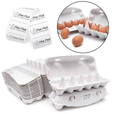 Juvale Paper 12-Count Egg Cartons with Labels (18 Pack Bulk Set)