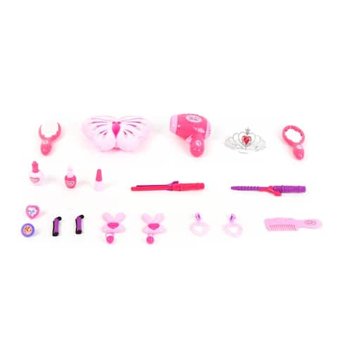 Wonderplay Pretend Play Kids Beauty Play Set with Fashion & Makeup Accessories for Girls Jewelry with light music
