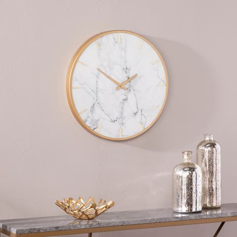 Silver Orchid Leander White Marble and Gold Wall Clock