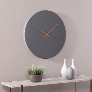 Link to Carbon Loft Yorba Contemporary Grey Round Wall Clock Similar Items in Decorative Accessories