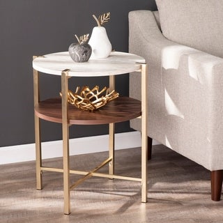 Strick & Bolton Aldea Round End Table w/ Faux Marble Top
