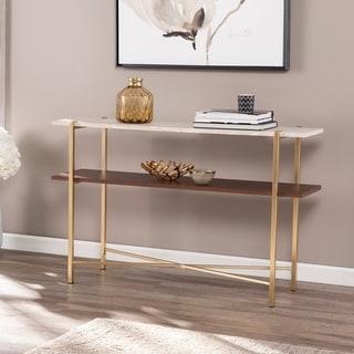 Strick & Bolton Aldea Faux Marble Console Table w/ Storage