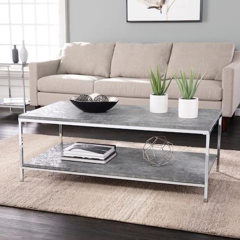 Silver Orchid Levico Faux Concrete Cocktail Table
