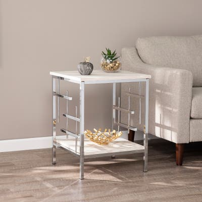 Silver Orchid Fleury Faux Marble End Table
