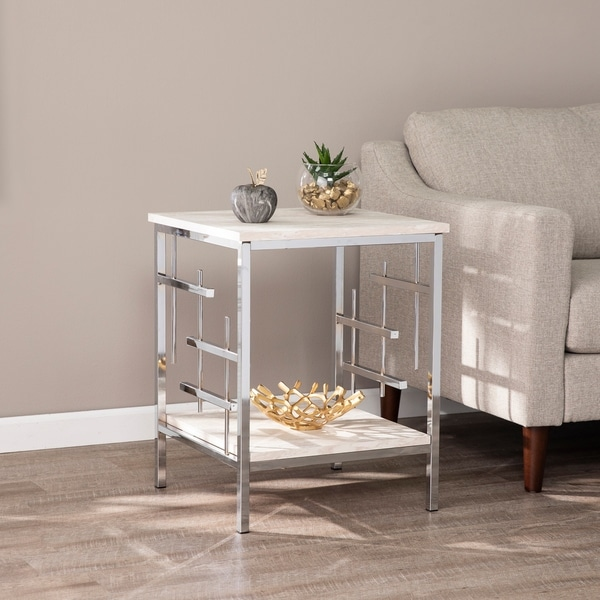 Silver Orchid Fleury Faux Marble End Table. Opens flyout.