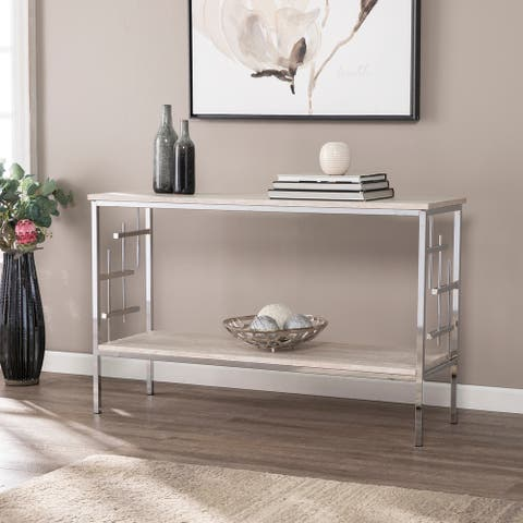 Silver Orchid Fleury Faux Marble Console Table