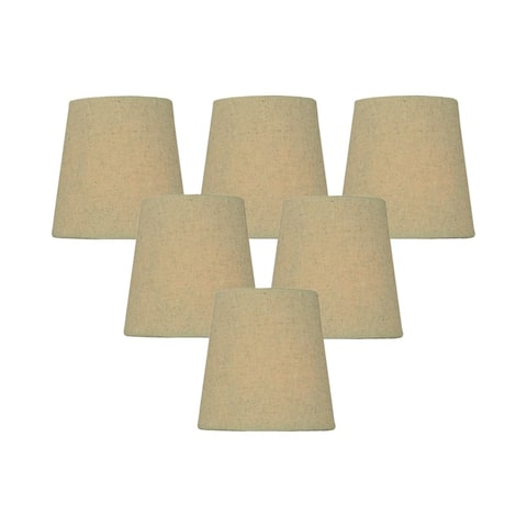 Set of 6 Chandelier Sand Linen Clip-On Lampshade 3x4x4