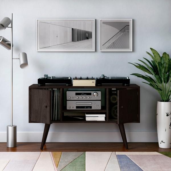 Carson Carrington Shorewood Mid Century Modern Wood Entertainment Cabinet with Doors