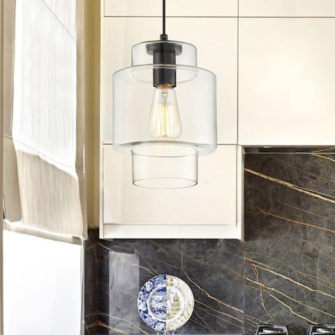"""The Gray Barn Hawthorn Farmhouse Black 1-light Glass Ceiling Pendant - 7.09"""" x 7.09"""" x 10""""-47.24"""""""