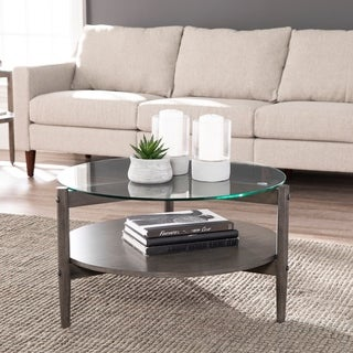 Carbon Loft Gelber Round Glass-Top Cocktail Table