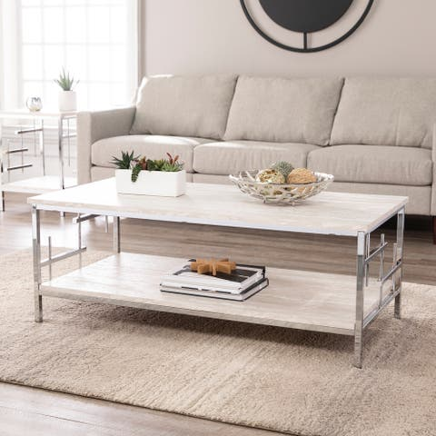 Silver Orchid Fleury Faux Marble Chrome Metal Cocktail Table