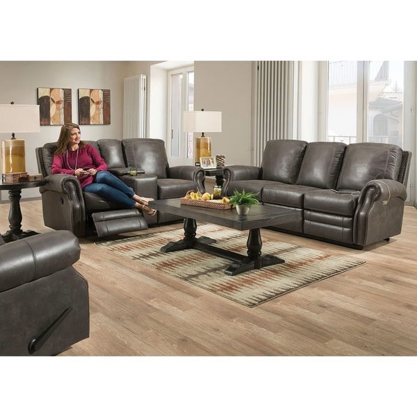 Tito Reclining Living Room Set Badland Dark Grey RS with table 7581