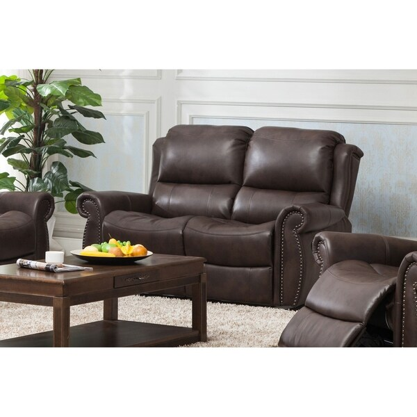 Carmelo Recliner Loveseat with Manual Handle Brown