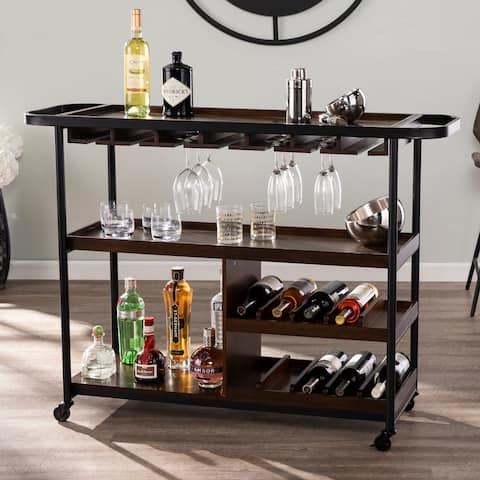 Tianna Rolling Bar Cart with Wine Rack