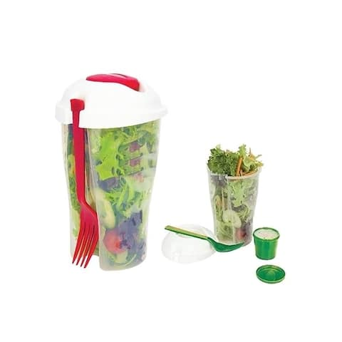 Salad or Lunch to Go Container w Fork and Dressing Cup- Two pack