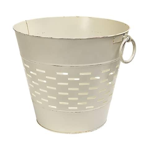 Farmhouse White Olive Bucket 12 inch
