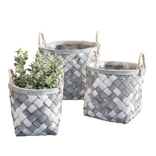 3/Set White and Gray Wooden Baskets