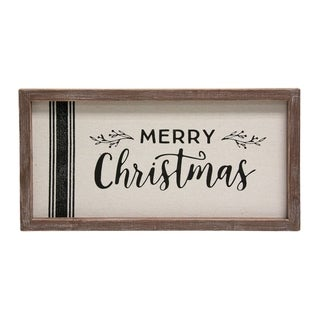 Grain Sack Framed Sign 'Merry Christmas'