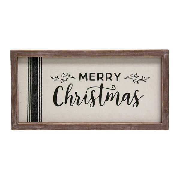 Grain Sack Framed Sign 'Merry Christmas'