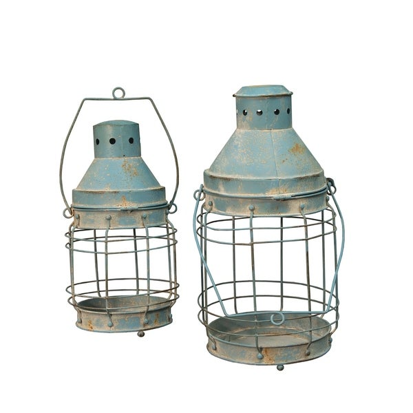 Blue Railroad Lanterns 2/Set