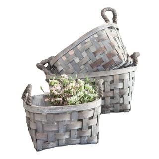 3/Set Gray Open Weave Baskets