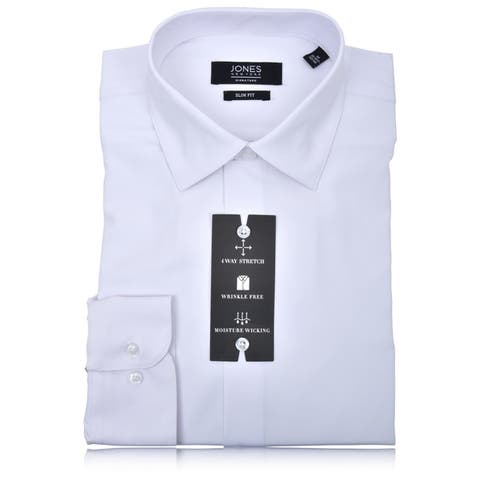 Jones New York Men's 4 Way Stretch Technology Slim Fit Dress Shirt