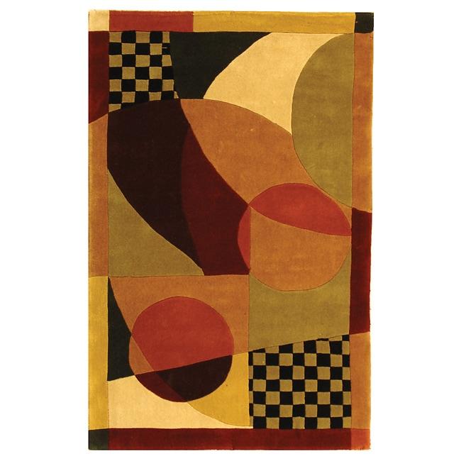 Safavieh Handmade Modern Abstract Burgundy/ Multi Wool Rug (8' x 11')