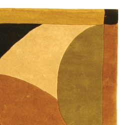 Safavieh Handmade Modern Abstract Burgundy/ Multi Wool Rug (8' x 11') - Thumbnail 2