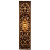 Safavieh Handmade Classic Royal Black/ Beige Wool Runner Rug - 2'3 x 8'