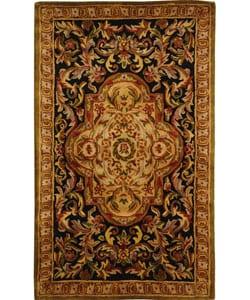 Safavieh Handmade Classic Royal Black/ Beige Wool Rug (3' x 5')