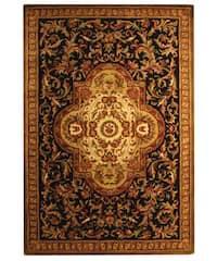 Safavieh Handmade Classic Royal Black/ Beige Wool Rug - 6' x 9'