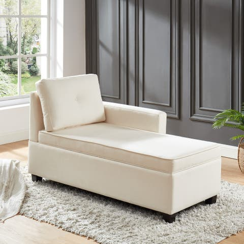 Furniture of America Mord Contemporary Ivory Chaise w/ Storage