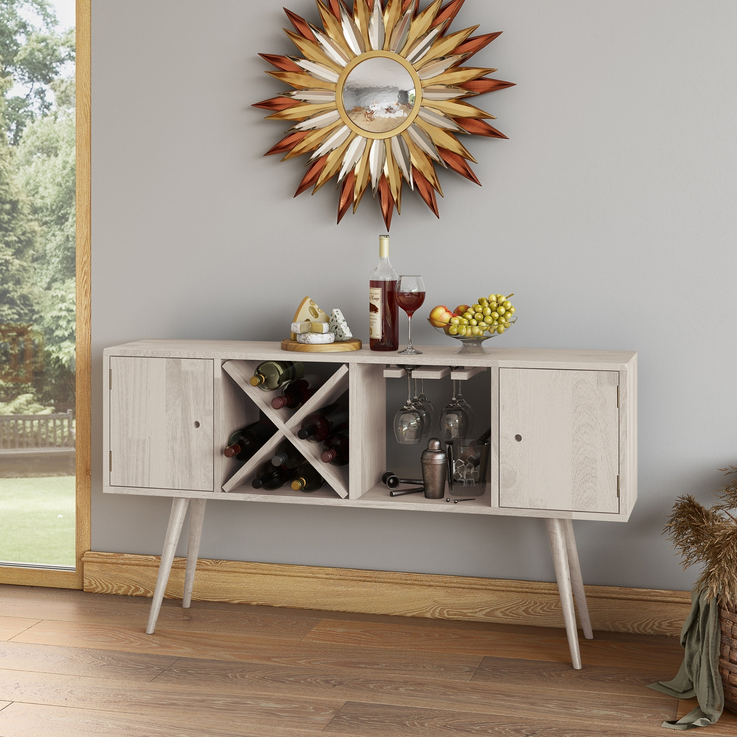 Carson Carrington Shorewood Mid Century Modern Wood Sideboard With Doors On Sale Overstock 30051071