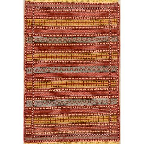 "Geometric Kilim Striped Oriental Runner Rug Wool Hand-Woven All-Over - 3'2"" x 4'10"""