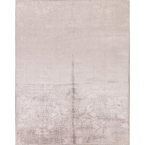 "Silk Transitional Soft Area Rug Handmade Oriental Taupe Carpet - 7'9"" x 9'11"""
