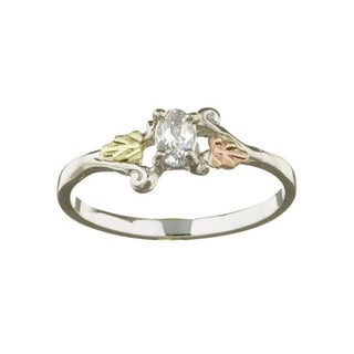 Black Hills Gold and Silver Synthetic White Topaz Ring